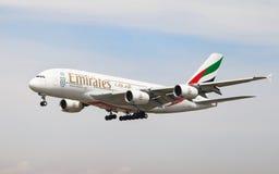 Emiratos Airbus A380 Imágenes de archivo libres de regalías