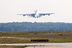 Emiratos Airbus A380-800 en el aeropuerto de Francfort Imagen de archivo