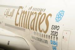 Emiratos atracados Airbus A380 Imagen de archivo libre de regalías