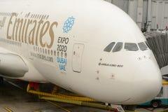 Emiratos atracados Airbus A380 Imágenes de archivo libres de regalías