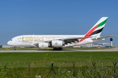 Emirats Airbus A380 Image stock