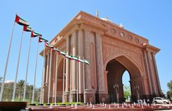 Emiratslottsikt från storgubbeporten Arkivbild