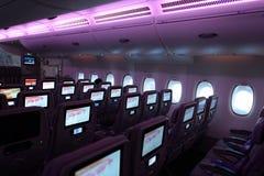 Emiratu Aerobus A380 samolotu wnętrze Zdjęcie Stock
