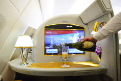Emiratu Aerobus A380 wnętrze Zdjęcie Stock