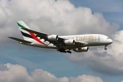 Emiraty Aerobus A380 Zdjęcia Royalty Free