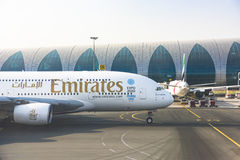 Emiraty Aerobus 380 Dubaj 2020 expo Obraz Stock