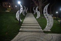 Emirganpark, Istanboel, Turkije bij nacht 5 royalty-vrije stock fotografie