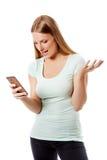 Emissão da mulher sms no telefone celular, isolado no branco fotografia de stock royalty free