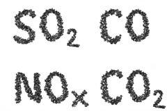 Emissões da fórmula das partes de carvão Fotos de Stock Royalty Free