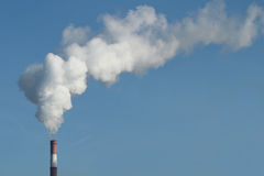 Emission of gases from the chimney at a power Royalty Free Stock Photo