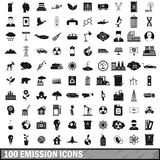100 emission icons set, simple style. 100 emission icons set in simple style for any design vector illustration Stock Image