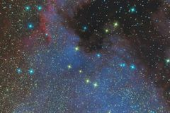Emission nebula of North America in the constellation Swan and is a region of ionized hydrogen. Photo of the nebula and the star f. Ield through the telescope stock photos