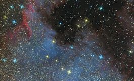 Emission nebula of North America in the constellation Swan and is a region of ionized hydrogen. Photo of the nebula and the star f. Ield through the telescope royalty free stock images