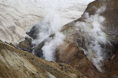 The emission of volcanic gases. The slope of Mutnovsky volcano. Kamchatka, Russia Stock Photos