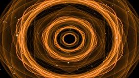 Emissione delle particelle leggere, video astratto fantastico con una forma ardente di frattale nei precedenti Colori il rosso ca illustrazione vettoriale