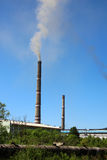 Emissions from the chimneys of thermal station Stock Photo