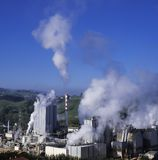 Emissions, chimneys with toxic emissions. Hernani, Basque Country royalty free stock image