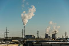 Cogeneration plant in the city. Emissions CHP in the city of Chelyabinsk Royalty Free Stock Images