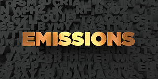 Emissions - Gold text on black background - 3D rendered royalty free stock picture Stock Photography