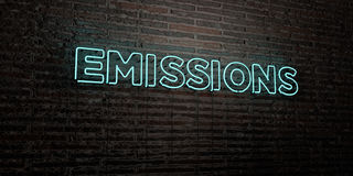 EMISSIONS -Realistic Neon Sign on Brick Wall background - 3D rendered royalty free stock image Royalty Free Stock Photography