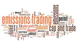 Emissions trade. Emissions trading - international environmental issues and concepts tag cloud illustration. Word cloud collage concept Stock Photography