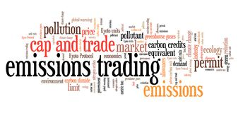 Emissions trading. International environmental issues and concepts tag cloud illustration. Word cloud collage concept Stock Photography