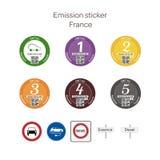 Emissionsaufkleber - Frankreich Stockfotos