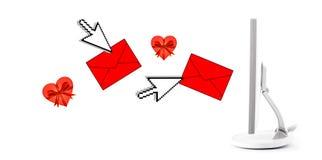Emita um email do Valentim fotografia de stock royalty free