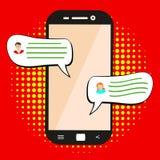 Emitindo a mensagem Conceito de um bate-papo ou de uma conversação móvel dos povos através dos telefones celulares Ilustração lis ilustração stock