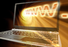 Emitted WWW. Concept WWW word with angled laptop and spiral orange spiral light Royalty Free Stock Image
