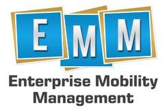 EMM - Enterprise Mobility Management Blue Squares. EMM- Enterprise Mobility Management text written over blue background Royalty Free Stock Image