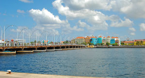Emma Bridge Curacao. The Emma Bridge in willemstad Curacao is unique because it is the only floating wooden swing bridge in the world Stock Images