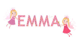 Emma female name with cute fairy Royalty Free Stock Image