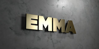 Emma - Gold sign mounted on glossy marble wall  - 3D rendered royalty free stock illustration Stock Image