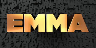 Emma - Gold text on black background - 3D rendered royalty free stock picture Stock Images