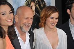 Emma Heming,Bruce Willis,Rumer Willis. Bruce Willis & Emma Heming (left) & his daughter Rumer Willis at the Los Angeles premiere of his movie 'G.I. Joe Stock Photography