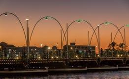Emma pontoon bridge by orange sunset royalty free stock images