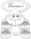 Emma's strawberry store coloring page Stock Photos
