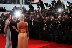 Emma Stone, Woody Allen, Parker Posey. Attend the Premiere of 'Irrational Man' during the 68th annual Cannes Film Festival on May 15, 2015 in Cannes, France Stock Image