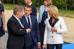 Emmanuel Macron, президент дамы Франции c и Brigitte Macron r первого Франции Стоковая Фотография RF