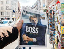 Emmanuel Macron The Boss Photographie stock libre de droits