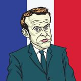 Emmanuel Macron Cartoon Caricature Portrait-Vector Parijs, 19 Juni, 2017 Royalty-vrije Stock Foto's