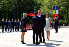 EMMANUEL MACRON AND KLAUS IOHANNIS. France President Emmanuel Macron ,CL, and his wife, Brigitte Macron at official photo with Romanian President Klaus Iohannis Royalty Free Stock Photography