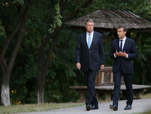 EMMANUEL MACRON AND KLAUS IOHANNIS. France President Emmanuel Macron, right, and Romanian President Klaus Iohannis pictured  at Village museum, in Bucharest Royalty Free Stock Image