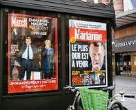 Emmanuel Macron med hans fru Brigitte Trogneux på Paris Match p Fotografering för Bildbyråer