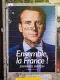 Emmanuel Macron portreta plakat z Bilderberg grupy członka ins Zdjęcie Royalty Free