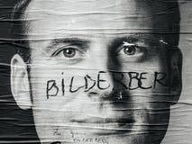 Emmanuel Macron portreta plakat z Bilderberg grupy członka ins Fotografia Stock