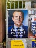 Emmanuel Macron portreta plakat z Bilderberg grupy członka ins Zdjęcia Stock