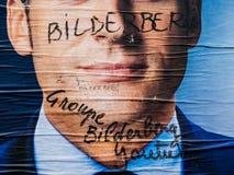 Emmanuel Macron portreta plakat z Bilderberg grupy członka ins Zdjęcie Stock