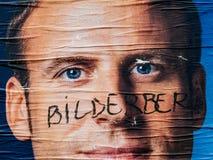Emmanuel Macron portreta plakat z Bilderberg grupy członka ins Zdjęcia Royalty Free